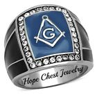 MEN'S STAINLESS STEEL BLUE ENAMEL BLACK EPOXY CRYSTAL MASONIC RING SIZE 8 - 13