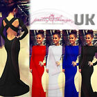 UK Women Formal Long Sleeve Prom Bare Back Evening Party Bodycon Maxi Long Dress