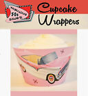 RETRO ROCK AND ROLL 50S DINER Party 15 Wraps Cupcake Cases Cake Wrappers CHEVY