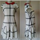 Primark 60's style Sleeveless Check Shift Dress Contrast Red Peterpan Collar