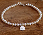 Personalised Sterling Silver And White Freshwater Pearl Bracelet With Round Tag