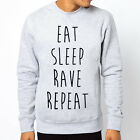 EAT SLEEP RAVE REPEAT slogan Men Grey Crewneck Sweatshirt