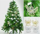 Festive Gold Or Silver Pk of 2 Angels Christmas Xmas Tree Hanging Decorations