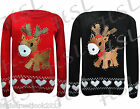 New Kids Unisex Merry Christmas Glittery Rudolph Novelty Knitted Jumpers 5-10yrs