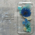 HDU Pressed Real Blue Flower Bling Resin Hard Skin Case Cover For Samsung iPhone