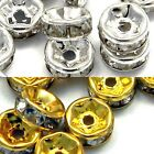Lot of 50 Metal 7mm x 3mm Rondelle Spacer Beads with Crystal Clear Rhinestones