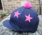 Lycra Hat Silk Skull cap Cover NAVY BLUE * HOT PINK STARS * With OR w/o Pompom