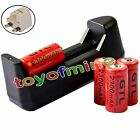 4x 3.7V CR123A 123A CR123 16340 2300mAh Red GTL Rechargeable Battery + Charger