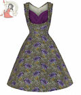 LINDY BOP 50's OPHELIA FLORAL vintage style DRESS GREEN PURPLE