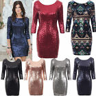 3/4 Sleeve Fully Lined V Back All Over Sequins Stretch Fitted Party Dress 8-14