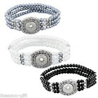 1PC DIY Mini Snap Button Stretch Bracelet 3 row Small Beads 20cm