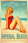 IMPERIAL BEACH California Surf Sand Sea Poster Pacific Pin Up Girl Art Print 241