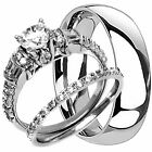 Titanium Mens Band And 2 Pc Womens Engagement Wedding Cz Ring Set His Hers