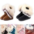 Vogue Women Girl Winter Flat Snow Ankle Warm Faux Rabbit Fur Shoes Short Boots
