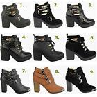 LADIES WOMENS CUT OUT BOOTS ANKLE BIKER FLAT MID HIGH BLOCK HEEL CHUNKY BUCKLE