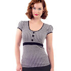 Steady Pixelated Top Retro Rockabilly Pin Up Vintage Office 50s Houndstooth