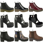 WOMENS LADIES CHUNKY CLEATED PLATFORM BLOCK CHELSEA HIGH HEEL ANKLE BOOTS SHOES