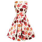 Lady Vintage Cream Tea Cups & Cupcakes Dress Rockabilly Pin Up Retro Cute Swing