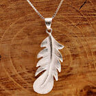 925 Sterling Silver 3D Angel Wing Feather/Bird Feather Pendant Necklace With Box
