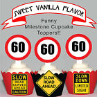 60th Birthday Party Milestone EDIBLE wafer 15 Cupcake Toppers PRECUT cup cake