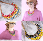 Ladies Metal Gold Chain Statement Costume Chunky Bib Necklace Choker For Women