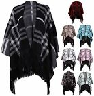 Womens Check Print Ladies Knit Poncho Cape Cardigan Tassel Shawl Top Plus Size