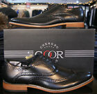 Mens Goor Leather Lined Brogue Designer Dress Casual Lace Up Shoes Black M014A