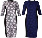 Womens Floral Daisy Jacquard Printed Ladies Tunic Long Midi Dress Top Plus Size