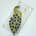 Luxury Handmade Rhinestone 3D Bling peacock Clear back case cover For Nokia