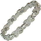 LADIES MAGNETIC BRACELETS WITH CLEAR CRYSTALS (#BRAS-3-SIL-MJ)