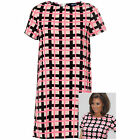 Ladies Pink Black Check Print Shift Tunic Top Party Mini Dress Cover Up Fashion