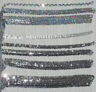 "Stretch Sequin Trim-Silver and Silver Holo 3/4"", 1"", 1.5"", 2.5"" Sold by the Yard"