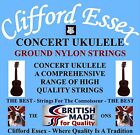 CLIFFORD ESSEX CONCERT UKULELE STRINGS. LIGHT. C OR D TUNING. MADE IN BRITAIN.