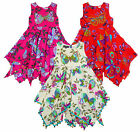 Girls DG Domino Girls Designer Butterfly Print Hanky Hem Sun Dress 2-10 yrs NEW