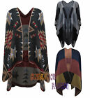 LADIES WOMENS BLANKET STITCH ITALIAN SHAWL CAPE WOOL BLEND AZTEC CARDIGAN PONCHO