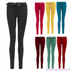 NEW LADIES STUDDED BELTED STRETCH SKINNY SLIM FIT WOMENS JEANS TROUSERS 6-14