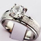 New 316L Stainless Steel 8M CZ Silver Frosted Wedding Engagement Ring Women Mens