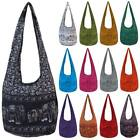 Shoulder Sling Bag Elephant Print Hippy Hippie Festival School Cotton Thai LARGE