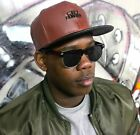 Faux leather snapback cap, brown flat peak city hunter hats, dope, hiphop fresh