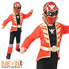Deluxe Red Super Mega Force Boys Fancy Dress Power Rangers Kids Childs Costume