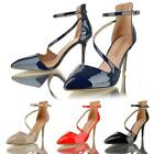 Womens Ladies High Stiletto Heel Pointy Toe Sandals Ankle Strap Court Shoes Size