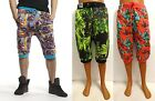 Men's ROYAL BLUE jungle mari juana floral print jogger shorts size S M L XL
