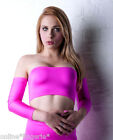 UV NEON FLO PINK LYCRA STRAPLESS BOOB TUBE BANDEAU CROP TOP CLUB DANCER PARTY B9