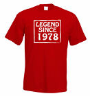 Legend Since 1978 37th Birthday t shirt Perfect Gift or Present FREE UK P&P