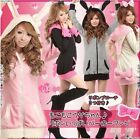 Women Cute Bunny Rabbit Ear Hoodie Sherpa Jacket Coat Junior Size 4 Colors