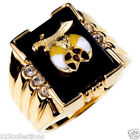 Shriner Mason Masonic Black Onyx Semi-Precious Clear CZ Men's Ring Size 8-14