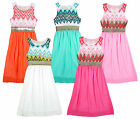 Girl's Zig Zag Crochet Multi Colour Lined Chiffon Summer Maxi Dress 3-12 Yrs NEW