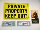 "Choice Of 3 No Trespassing Signs,12x8.5"", Pocket Constitution, $1,000,000 Bill"