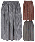 Womens New Printed Pattern Ladies Stretch Waist Gathered Flared Skirt Plus Size