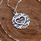 "Sterling Silver Round Pendant Necklace with Embossed Love Heart Textured ""LOVE"""